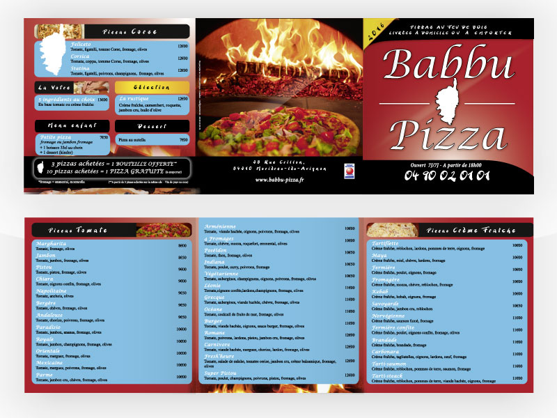 Flyer 3 volets Babbu Pizza