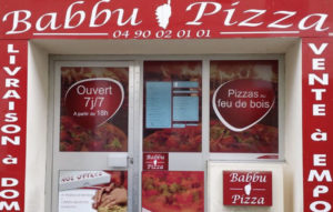 Habillage vitrine Babbu Pizza