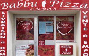 Habillage vitrine Babbu Pizza
