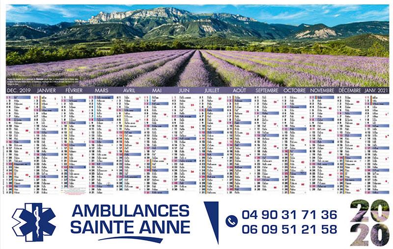 Calendrier bancaire imprimé ambulance
