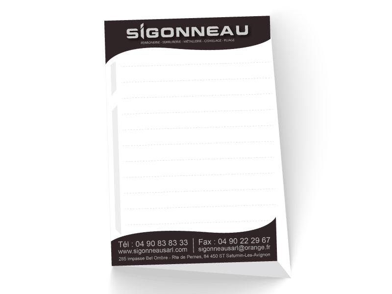 Bloc note entreprise Sigonneau