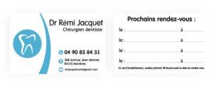Carte de rendez-vous dentiste Jacquet
