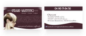 Carte de visite coiffure Gérard Valentino