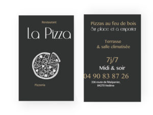 Carte de visite restaurant La Pizza