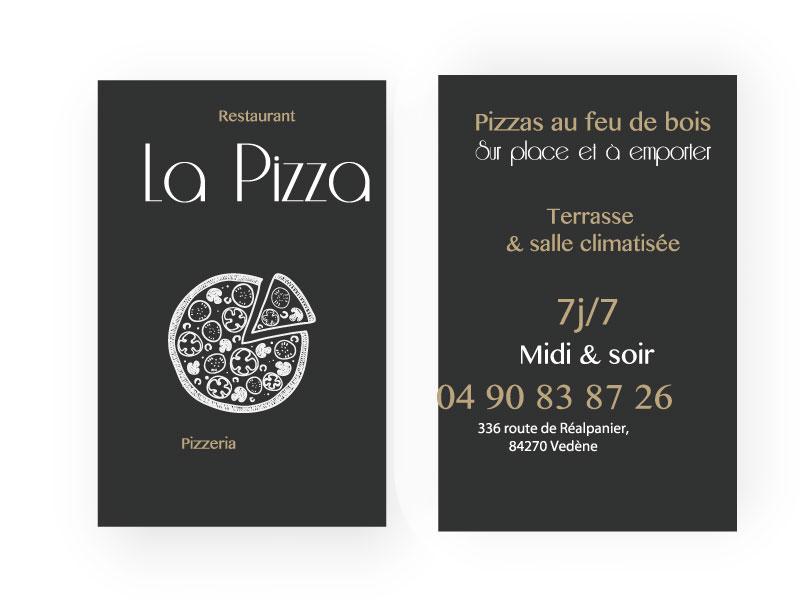Carte de visite restaurant La Pizza
