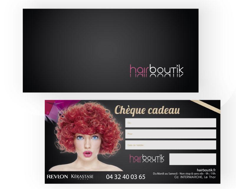Chèque cadeau salon de coiffure Hairboutik