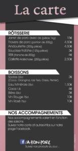 Flyer menu rotisserie A bon porc
