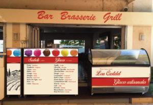 Habillage vitrine restaurant Lou castelet