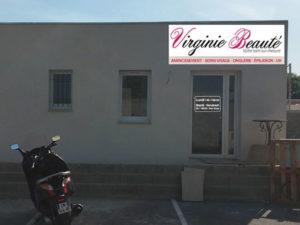 Habillage vitrine Virginie Beauté