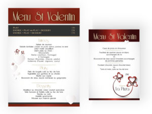 Menu St Valentin restaurant La Pizza