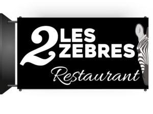 Panneau enseigne restaurant Les 2 Zèbres