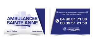 Carte de visite ambulance St Anne