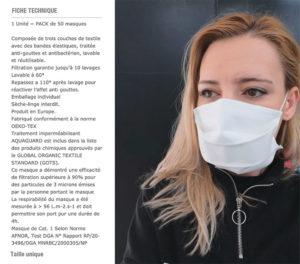 Fiche Technique masque AFNOR DGA - Protection COVID 19