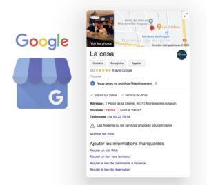 Référencement restaurant Google- La Casa